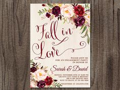 Engagement Party Invitation Fall in Love Autumn Engagement Fall Engagement Parties, Engagement Party Themes, Engagement Party Invitations, Wedding Engagement, Engagement Photos, Rustic Invitations, Printable Invitations, Fall Wedding Flowers, Autumn Wedding