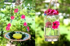 Via ALYCE TERRY @butterflys How to make a pretty plate or mason jar butterfly feeder