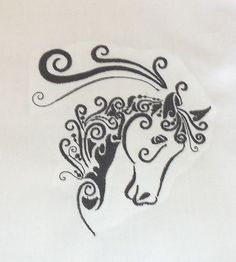 "5"" X 7""  Blackwork Horse Quilt Block Embroidered on White Kona Quilting Cotton for quilting, crafts, pillow tops"