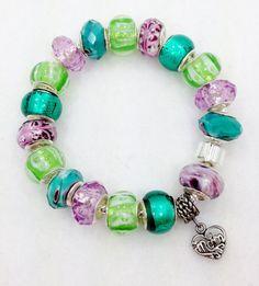 Purple Green European Style Mom Bracelet by Graceandliz on Etsy, $15.00
