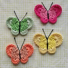 These crochet butterflies make great appliques for bags or pins. Use Bonbons or our new Vanna's Palettes for a variety of color combinations.