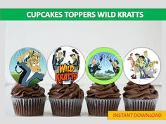 printable Wild Kratts cupcakes toppers, Wild Kratts cake pop toppers, You Print