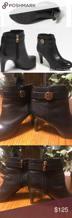 b10ea5db966295 Tory Burch Bristol Leather Bootie Black with gold hardware gorgeous Tory  Burch Bristol heeled zip up