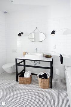Inspiracja do koncepcji urządzenia wiekszej łazienki. Podłoga z kafelków (mozaika) z kolekcji zienia (białe? lub czarne?) https://plus.google.com/u/0/photos/yourphotos?pid=5985101135704512818&oid=111333949571898703515  tło łazienki białe i do tego wisząc lustro na skórzanym pasku (?) + odrestaurowana szafka drewniana (antyk w miare prosty w stylu)?
