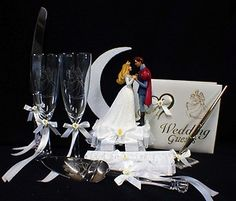 Disney SLEEPING BEAUTY Wedding Cake Topper Glasses knife guest book garter