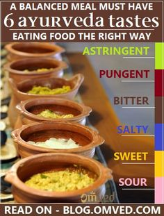 6 AYURVEDA TASTES - According to Ayurveda the sense of #taste is a natural guide…