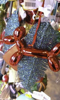 Jeff Koons balloon dog ornament, $10. spotted at the Urban Outfitters in Evanston.