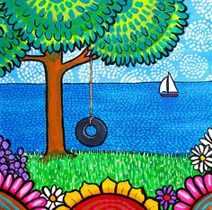 Tire Swing ORIGINAL painting by Shelagh Duffett, FREE SHIPPING