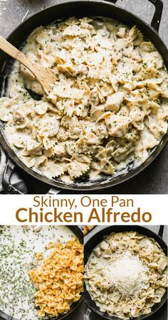This Healthy Chicken Alfredo pasta recipe has all of the yummy flavor of traditional Alfredo, without all the calories, and it's made in just one pan! via @betrfromscratch Yummy Chicken Recipes, Pasta Recipes, Beef Recipes, Healthy Recipes, Healthy Food, One Pan Chicken, Skinny Chicken, Pasta Dishes, Food Dishes