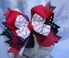 Over the Top Baseball Boutique Hair Bow and by sassylilprincesses, $13.99