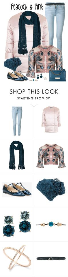 """""""Denim, Denim, Denim: Pink & Peacock"""" by susan0219 ❤ liked on Polyvore featuring Frame, Topshop, prAna, For Love & Lemons, Jimmy Choo, Anne Klein, River Island and Orciani"""