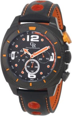 Giulio Romano Men's GR-2000-13-079 Pescara Black IP Case with Orange Aluminum Pusher Black Leather with Orange Lining and Topstitching Dual-Time Day-Date Watch