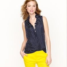 j.crew factory | polka dot, ruffle neck top. navy with white polka dots. outer: 100% polyester/ lining: 100% acétate. great condition! J.Crew Factory Tops Blouses