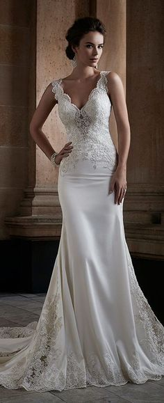 Scalloped lace shoulder straps and plunging V-neckline, hand-beaded lace appliqué dropped waist bodice with center sheer peekaboo. Dream Wedding Dresses, Bridal Dresses, Wedding Gowns, Bridesmaid Dresses, Drop Waist Wedding Dress, Wedding Attire, Dream Dress, Bridal Collection, Wedding Styles
