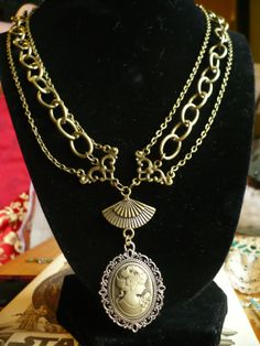 Three Bronze Chain Cameo Necklace on Etsy, $25.00 CAD