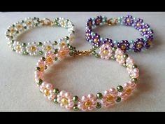 Seed bead jewelry daisy bracelet ~ Seed Bead Tutorials Discovred by : Linda Linebaugh Seed Bead Tutorials, Jewelry Making Tutorials, Beading Tutorials, Daisy Bracelet, Seed Bead Bracelets, Pearl Bracelets, Jewelry Bracelets, Beaded Bracelets Tutorial, Beaded Bracelet Patterns