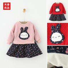 Девочки плюс бархат платье 2 0 1 6 осень-зима одежда новая детская одежда дети цветочный кролик платье принцессы ребенок юбка волна