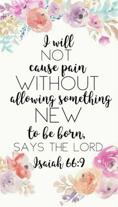 Prayer Journal: i will not cause pain without allowing something new to be born says the lord