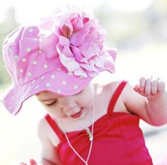 Pink and Green Dots Peony Girls Baby Sun Hat #Melondipity