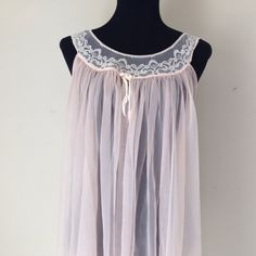 Vintage Negligee / Nightgown / 1960's / Pink Nylon / Vintage Lingerie / Lace Neckline / Knee Length /  Peignoir / Women's Clothing / Sheer