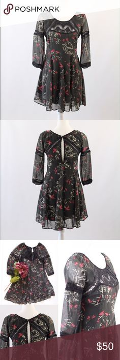 "Free People Sheer Print Dress This beautiful frock by Free People is a rare find. Beautiful pattern with a flowy skirt with little to no signs of wear. Size 6. Crew neckline Printed Measurements 32"" Chest, 34"" Length Materials 100% Polyester Free People Dresses Mini"