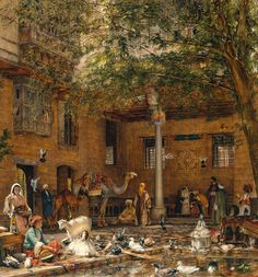"Study for ""The Courtyard of the Coptic Patriarch's House in Cairo,"" 1864, oil on wood, English, John Frederick Lewis"