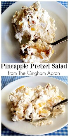 Pineapple Pretzel Salad: the perfect combination of salty and sweet. The sugar c… Pineapple Pretzel Salad: the perfect combination of salty and sweet. The sugar coated pretzels put this salad over the top. Pineapple Pretzel Salad, Pineapple Fluff, Strawberry Pretzel Salad, Pineapple Cobbler, Raspberry Salad, Crushed Pineapple, Strawberry Cheesecake, Fruit Recipes, Cooking Recipes