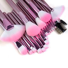 Professional Makeup Brushes Makeup Brush Set Synthetic Hair / Artificial Fibre Brush Makeup Brushes for Makeup Brushes set Professional Pink Handle Powder/Concealer/Blush brush Shadow/Eyeliner/Lip/Brow/Lashes Brush High Quality Makeup Kit Makeup Brush Holders, Makeup Brush Set, Makeup Kit, Makeup Tools, Skin Makeup, Makeup Geek, Airbrush Makeup, Cheap Makeup, Cute Makeup