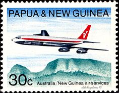Papua New Guinea.  DEVELOPMENT OF AIR SERVICE DURING THE LAST 25 YEARS BETWEEN AUSTRALIA & NEW GUINEA.  BOEING 707 & HOMBOM'S BLUFF. Scott 310 A67, Issued 1970 July 8, Photo., Perf. 14 1/2 x 14, 30. /ldb.