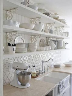 Gorgeous French Country Shabby Chic Kitchen In White! Open Shelving, Shabby Chic Shelving, Vintage White Backsplash Tiles