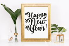 Happy New Year, Holiday, Celebration, Instant Download, Printable, Art and Collectibles, Home and Living, Wall Decor, 2017. Typography, Art by thewhitecanvases on Etsy