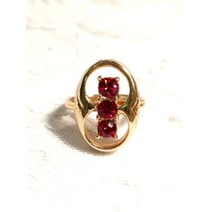 Black Friday Sale Vintage Rare Sarah Coventry Ruby Red Firefly Gold... ($32) ❤ liked on Polyvore featuring jewelry, rings, vintage gold rings, gold jewelry, adjustable rings, vintage jewelry and sarah coventry