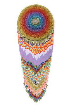 Jen Stark- Paper Artist Cascade, 2012, hand-cut acid-free paper, glue, wood, 69 x 25 x 4 in