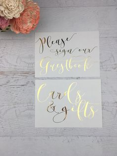 Wedding Sign Set Cards and Gifts Cards & Gifts Guestbook Sign by GildedPaperCo on Etsy.