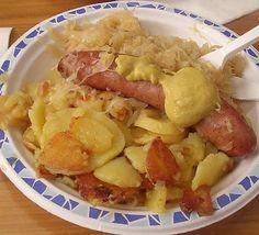 Receta casera de salchichas alemanas con patatas caseras #salchichas #cerdo #mettwurst