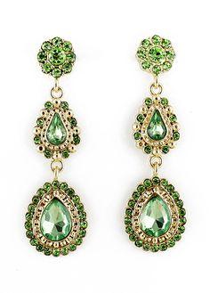Green Drop Gemstone Gold Flower Earrings US$7.34