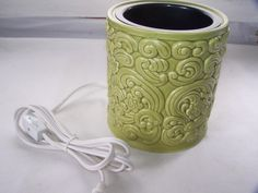 New Electric Candle Jar Warmer Green Clouds Floral Pattern