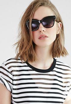 Winged Square Frame Sunglasses