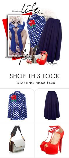 """""""798"""" by klukina-mv ❤ liked on Polyvore featuring Dice Kayek, Marni and Christian Louboutin"""