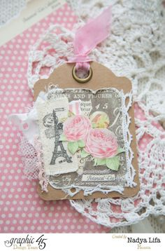 Love the stamped swatch on this ATC using Botanical Tea by Nadya. Dreaming of Paris! #graphic45