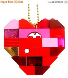 ON SALE Playful Red necklace  Chunky heart by MademoiselleAlma #MademoiselleAlma #LEGO #ETSY