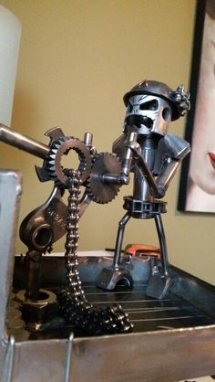 Scrap metal art 50 Cal machine gunner with grenades