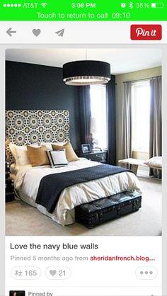Bedroom navy blue walls fabric headboard