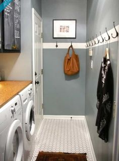 Great alternative to buying a coat rack - paint a stripe in a fun color and hang individual hooks.