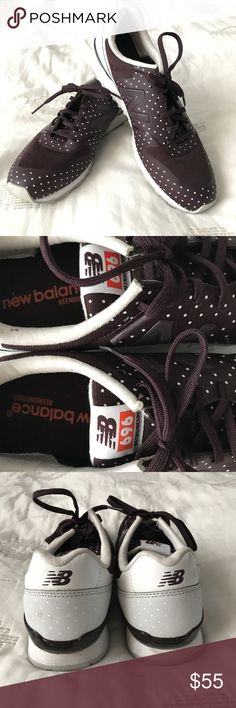 NEW BALANCE TRAINERS FROM FREE PEOPLE SZ 8 Dark maroon color with polka dots. Super cute and comfortable! Worn once. Free People Shoes Athletic Shoes