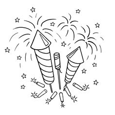 Fireworks Coloring Pages. Everybody's been watching beautiful fireworks. Especially when we celebrate New Year, there is a lot of fireworks lit. Farm Animal Coloring Pages, Preschool Coloring Pages, Online Coloring Pages, Flower Coloring Pages, Free Printable Coloring Pages, Coloring Pages For Kids, How To Draw Fireworks, Fireworks Craft, 4th Of July Fireworks