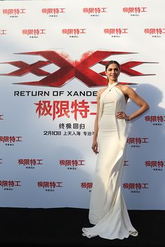 Deepika Padukone in Ralph Lauren attends a press conference/red carpet for the Paramount Pictures title 'xXx Return of Xander Cage' on February 9 2017 in Beijing...
