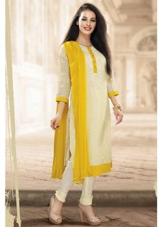 White Colour Straight Cut Salwar Suit - SL1354