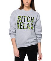 Married To The Mob Relax Weed Fill Grey Crew Neck Sweatshirt