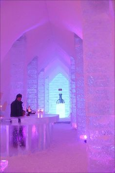 The bar in Hotel de Glace — Quebec City. North America's only ice hotel. Astrogeographic position: in the position of the palace of the ice princess right in between 2 winter signs durable, solid Capricorn sign of white colour and the start of winter + a Vacation Destinations, Dream Vacations, Vacation Spots, Oh The Places You'll Go, Places To Travel, Beautiful World, Beautiful Places, Chateau Frontenac, Le Petit Champlain